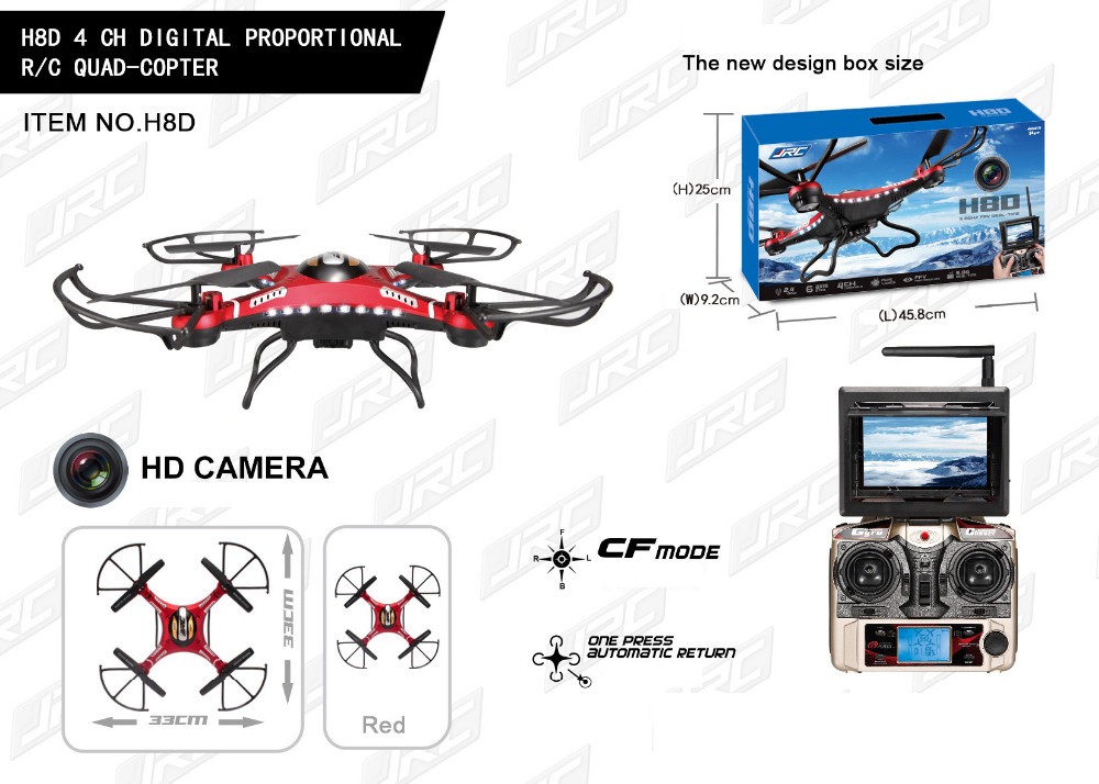 JJRC H8D RC Quadcopter 2.4Ghz Headless Mode One Key Return 5.8G FPV Drone with 2MP Camera LCD RTF RC Helicopter Toy
