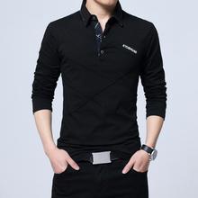 TFETTERS Marca T Shirt Dos Homens T-shirt Longo Turn-down Listra T-shirt Do Desenhista Slim Fit Solto Camisa de Algodão Ocasional T plus Size masculino(China)