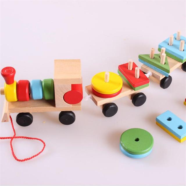 Baby Toys Kids Trailer Wooden Train Vehicle Blocks Geometry/Colour Congnitive Blocks Child Education Birthday/Christmas Gift
