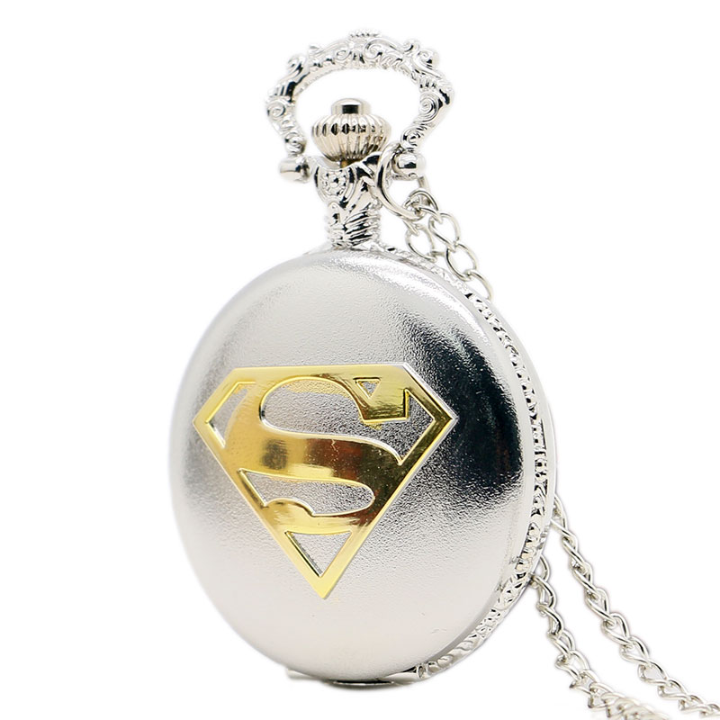 Vintage Steampunk Superman Silver Black Bronze Color Case Pocket Watch with Necklace Chain Mens Fashion Watch(China (Mainland))