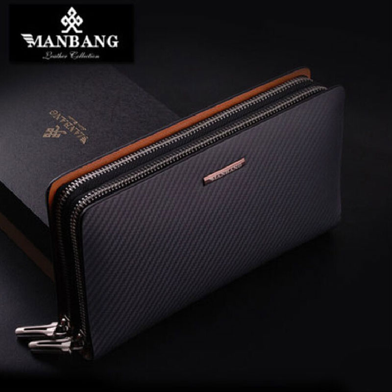 Manbang Brand Men Genuine Leather Clutch Bags Designer Male Long Wallets Luxury Brown Black Fashion Purse