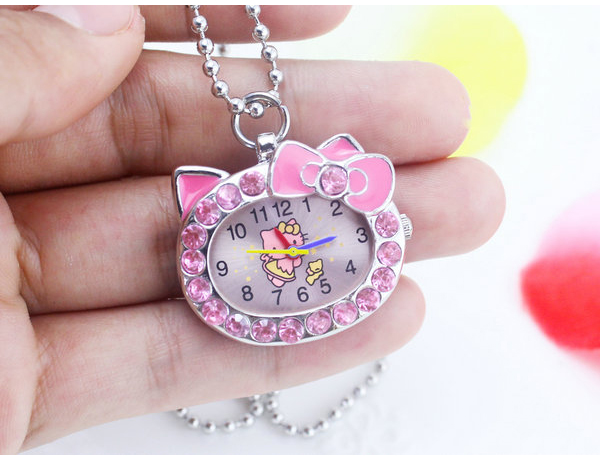 1pcs hot fashion Cat Face with Pink Diamond Hello Kitty Pocket Watch for girl(China (Mainland))
