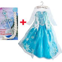 Princesse fille robe snow queen Cosplay Costume robe marque enfants vêtements bébé enfants robes fantasia infantis robe Menina(China (Mainland))