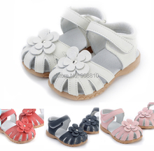 2016 new genuine leather girls sandals in summer walker shoes with flowers antislip sole kids toddler magazine sandal 12.3-18.3(China (Mainland))
