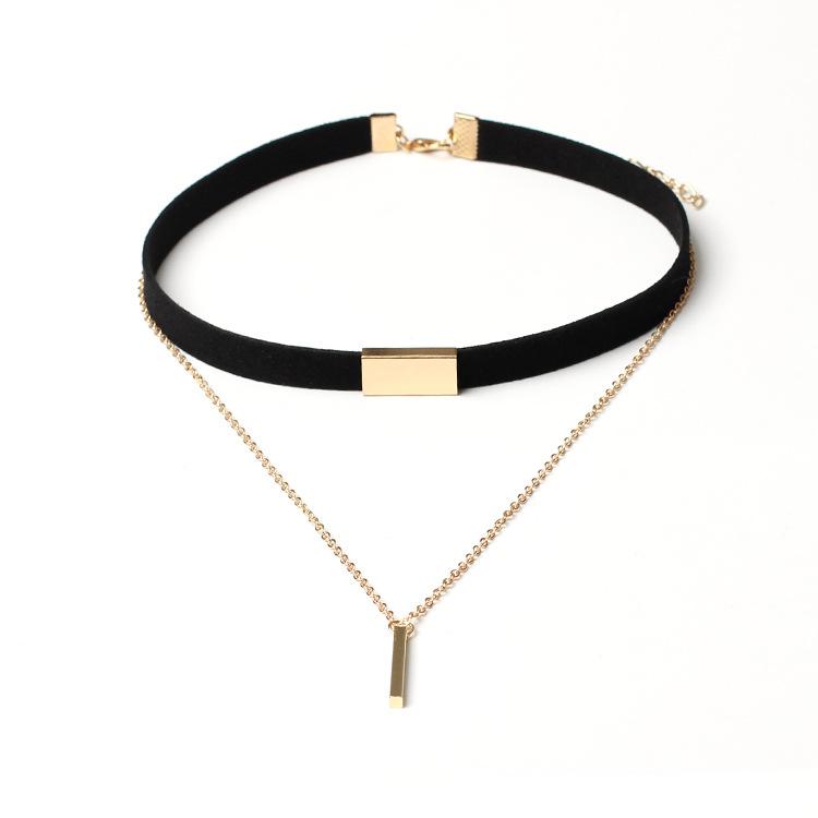 4 Color de Terciopelo Negro Corto Collar de Gargantilla Cadena de Oro Bar Clavícula Collar Para