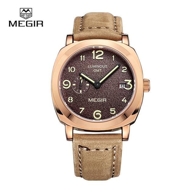 Megir мужские кварцевые часы указатель моды с световой Кожаный ремешок водонепроницаемый спортивные часы relogio masculino relojes 1046