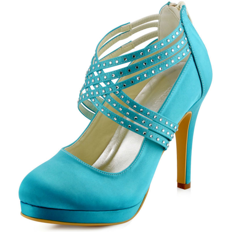 Fast Shipping US EP11085-PF Green Teal Mint Women Bridal High Heel Party Rhinestones Platforms Zip Strap Wedding Shoes<br><br>Aliexpress