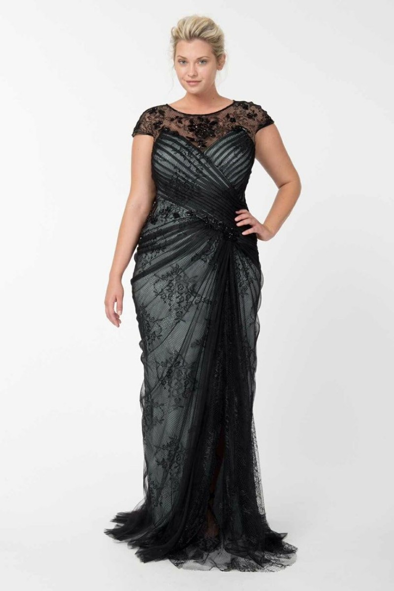 Plus size women evening dresses 2016 black lace cap for Plus size black dresses for weddings
