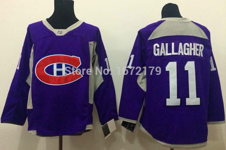 HOT SALE 2015 MONTREAL CANADIENS #11 BRENDAN GALLAGHER PURPLE PRACTICE 100% STITCHED MENS ICE HOCKEY JERSEY(China (Mainland))