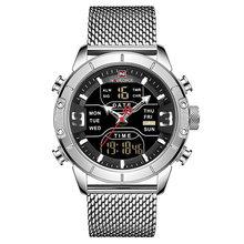 NAVIFORCE hommes montre haut de gamme marque homme militaire Sport Quartz montres en acier inoxydable LED horloge numérique Relogio Masculino(China)