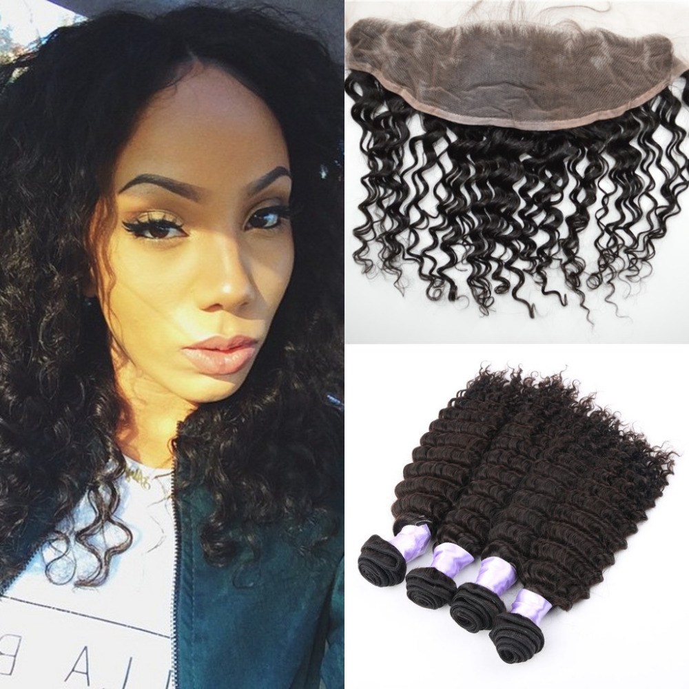 Cheap Malaysian Virgin Hair Deep Wave 4 Bundles With Lace frontal Closure Natural black Malaysia Hair Weave Extensions<br><br>Aliexpress