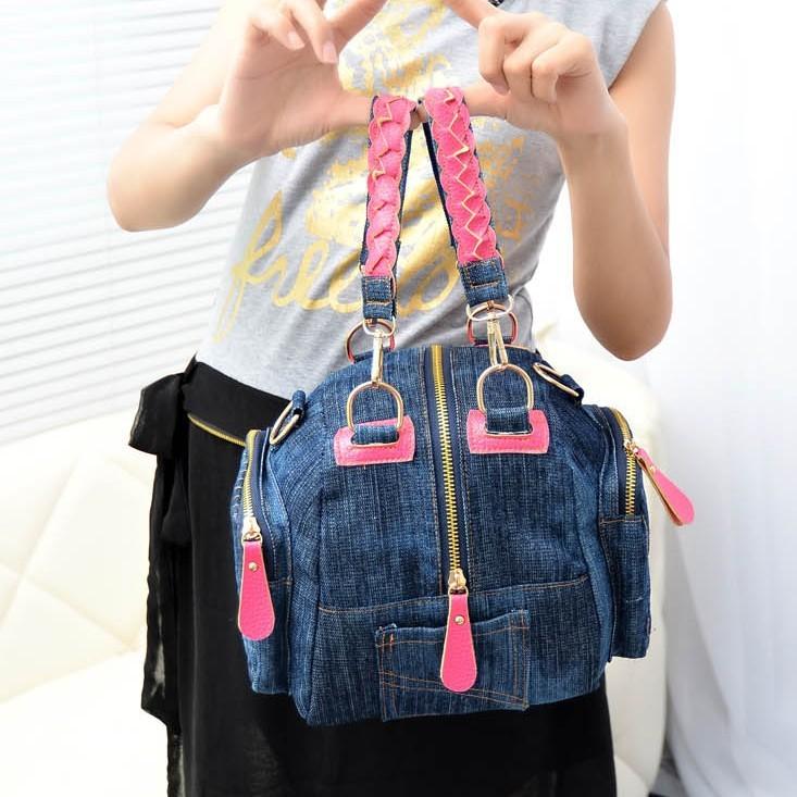 Large capacity 2015 new cowboy style handbag Fashion small fresh leisure travel bag Interesting light cloth bags hitting scene(China (Mainland))