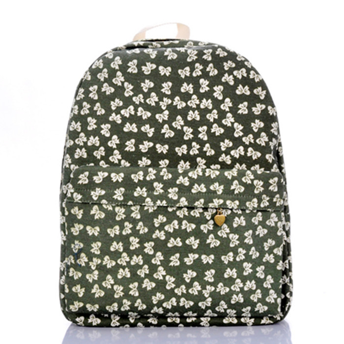 Grass green bowknot backpack bear endure dirty canvas bag leisure female campus schoolbag travel fashion bags - jian ye's store