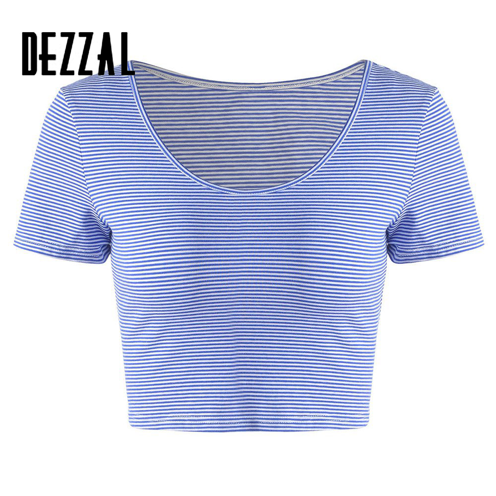 Dezzal Women Short Sleeve Cotton Crop Tops Summer Style