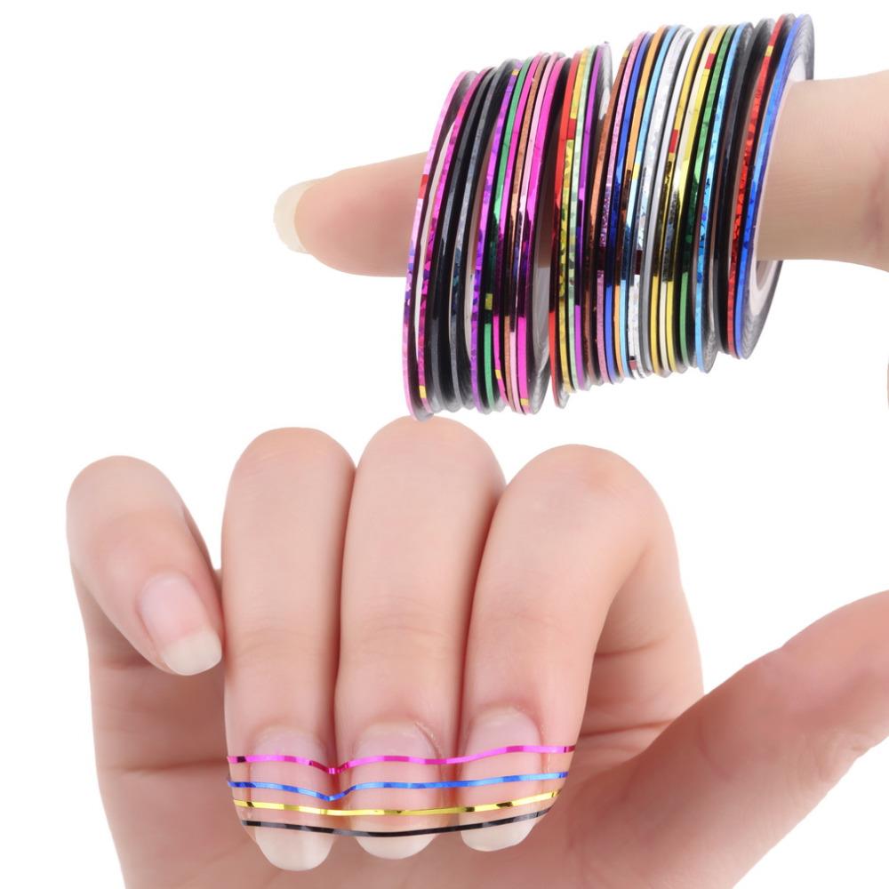 10pcs/set Nail Art Painting Creative DIY Fingernail Decorations Women Mixed Color Rolls Striping Tape Line Gummed Nail Stickers(China (Mainland))