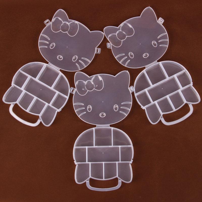 1PC Plastic Hello Kitty Adjustable Jewelry Necklace Clear Storage Box Case Holder Craft Organizer Hot Sale E2(China (Mainland))