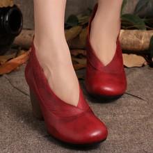 2015 Retro Style Handmade Shoes Women Chunky Heels Pumps Round Toe High Heels Genuine Leather(China (Mainland))