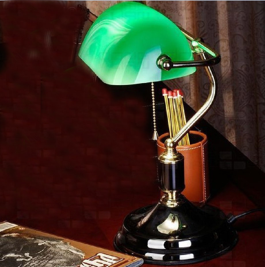 Bankers table lamp desk light metal Iron green glass shade imitate brass copper(China (Mainland))