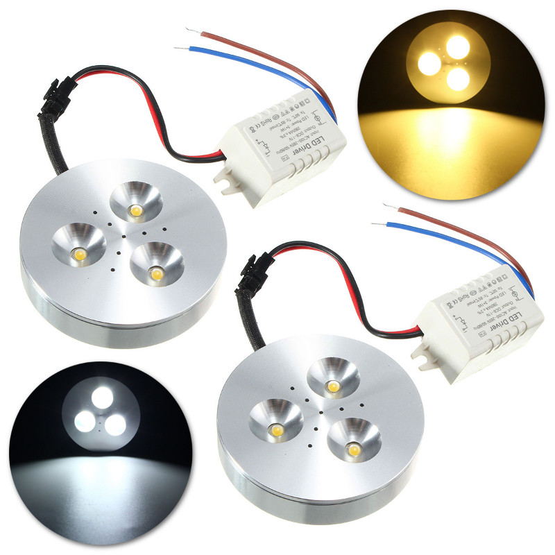 Hot Sale 3W Round Recessed Kitchen LED Under Cabinet Lighting Kit Energy Saving Lamp With Driver Pure Warm White AC85-265V(China (Mainland))