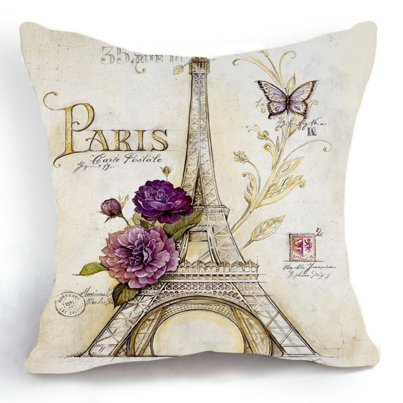 Free Shipping Cotton Linen Retro Vintage Eiffel Tower Purple Flower Decorative Throw Pillow Case ...