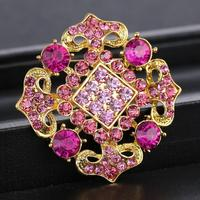 Square Gold Flower Brooches Pins Wedding Party Jewelry Pink Sapphire Amethyst Crystal Brooches for Women Rhinestone Brooch Pins
