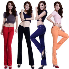 New Arrival 2015 Fashion Korean Women's Pants Flare Pants Candy Colors Trousers Rivet Designed Slim Fit Casual Dress Sweatpants(China (Mainland))