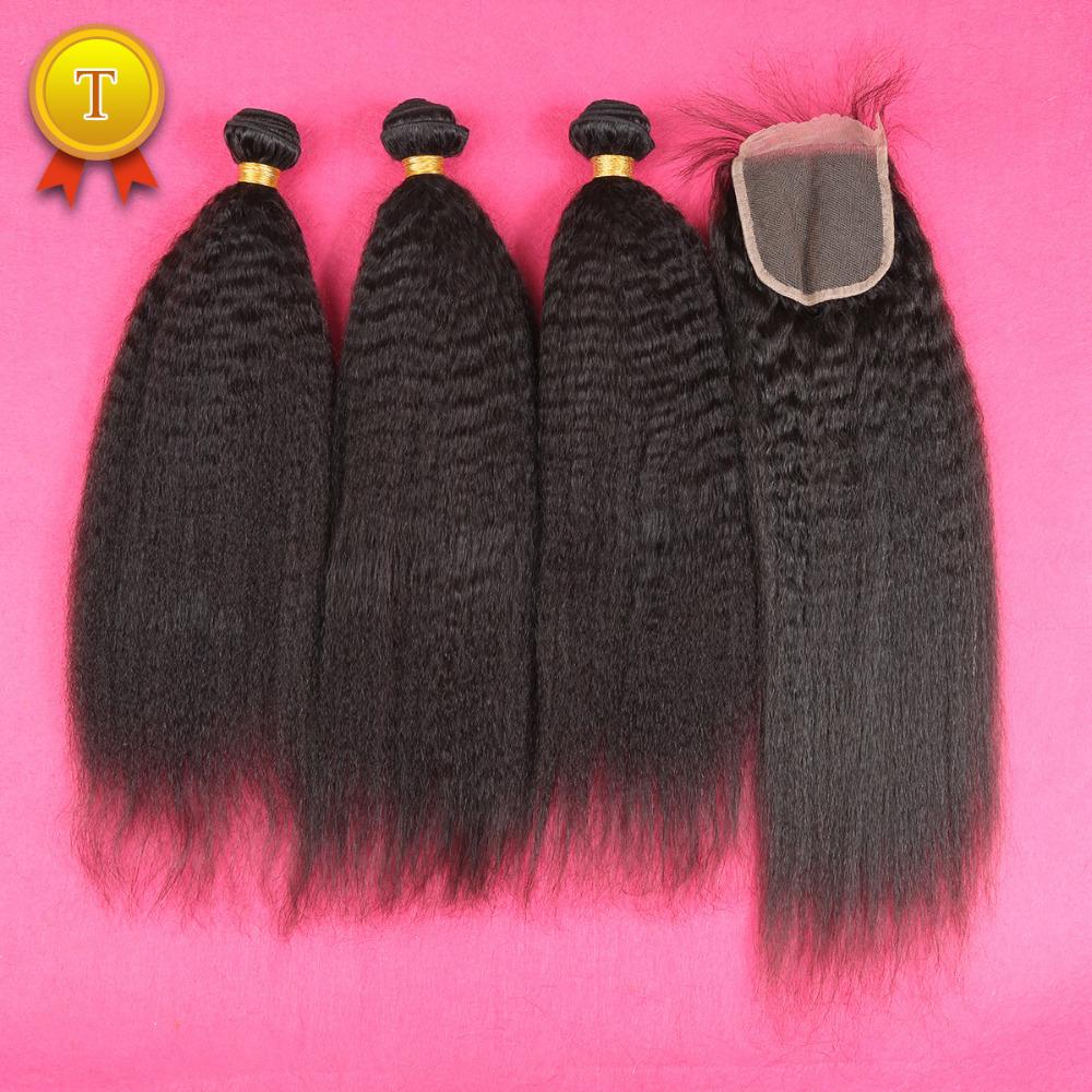 7A Mongolian Kinky Straight Hair With Closure,Lace Closure With 3 Bundles Coarse Italian Yaki Virgin Hair 4 Pcs Human Hair Weave