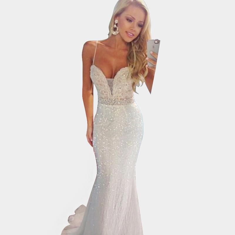 Sexy Long White Prom Dress