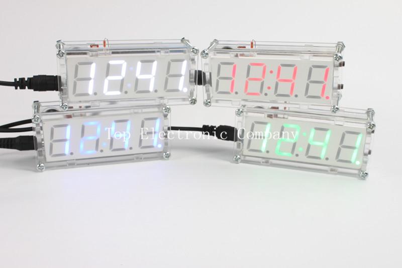 4 Bits Electronic clock production suite LED electronic clock DIY kit SCM LED digital clock parts(China (Mainland))