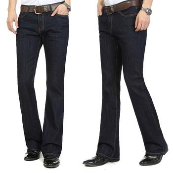 Мужчины в завышенная талия приталенный клёш bell нижний джинсы синий черный 4 сезона ...
