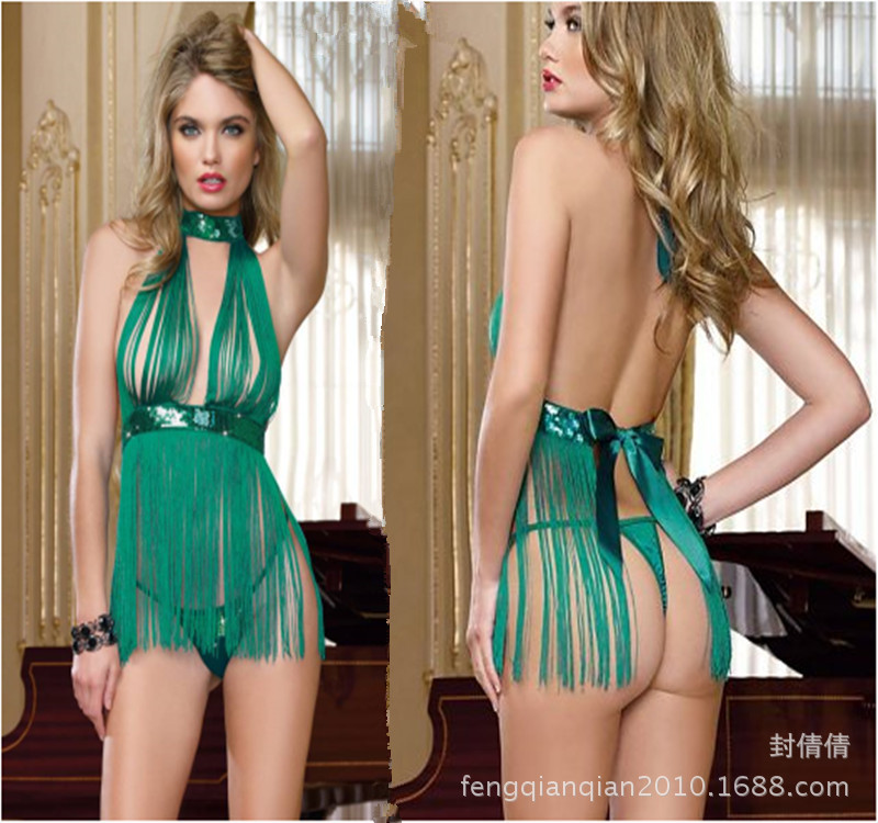 Sexy lingerie green fringed taste Nightgown sequins steel tube dance club clothing wholesale(China (Mainland))
