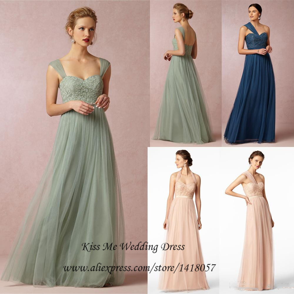 Popular blue and pink bridesmaids dresses buy cheap blue and pink imported mint green navy blue pink tulle lace bridesmaid dress long wedding party dresses detachable straps ombrellifo Image collections