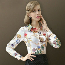 Pure Mulberry SILK blouse Women long sleeve work Brand Print Satin Blusas femininas Office lady STRETCH Plus size 2016 NEW shirt(China (Mainland))