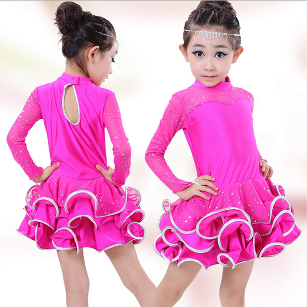 High quality Fall and winter children's ballroom stage clothing girls Latin dance skirts long-sleeved dress perfoming costumes