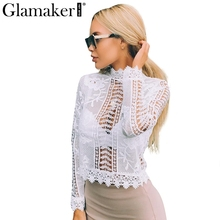 Buy Glamaker sexy white lace blouse shirt Women tops elegant hollow blouse Summer tops female blouse long sleeve blusas for $14.69 in AliExpress store
