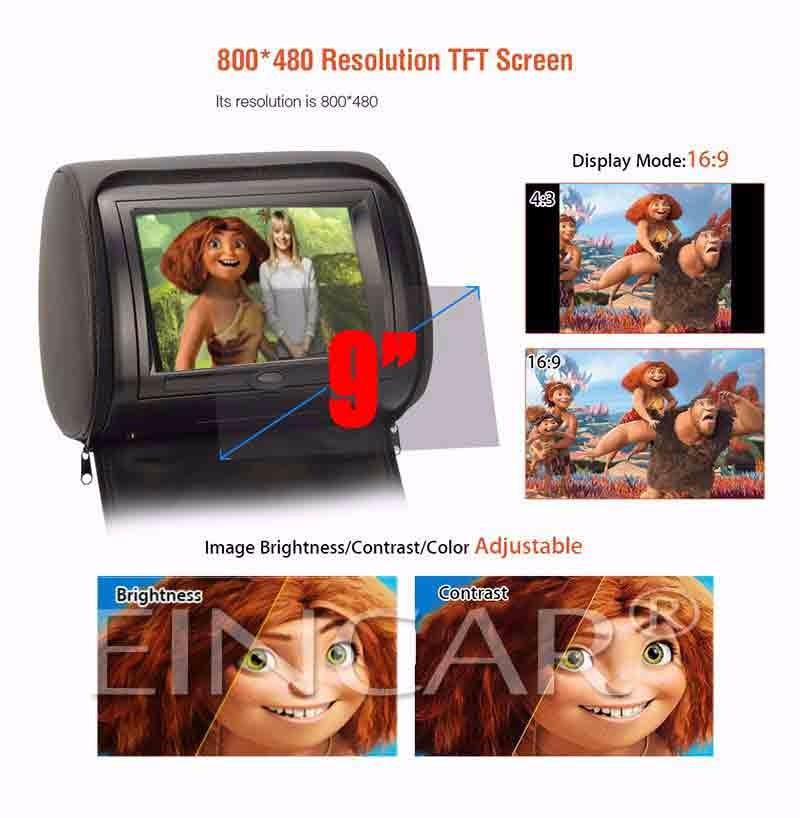 Eincar 9 inch Auto Pillow LCD Screen Monitor Car Headrest DVD Player Multimedia Video Player a Pair of Dual-Channel IR headphone