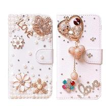 Luxury Handmade Phone Cases Bling Diamond Rhinestone Case for iPhone 5C Leather Wallet DIY Mobile Phone bag with Card slot