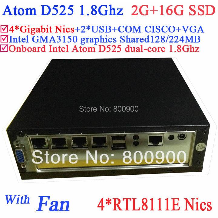 Lowest price mini server pc Intel Atom D525 4 Gigabit RJ45 Firewall motherboard 4 way input and output GPIO 2G RAM 16G SSD(China (Mainland))