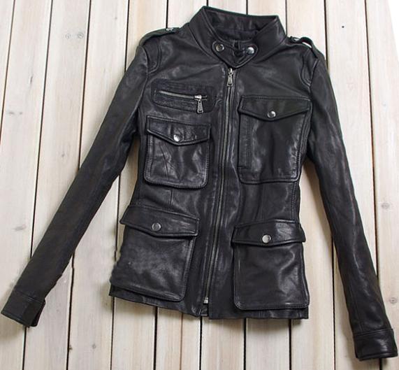 Женщины Sheepskin Натуральная кожа Jackets Desigual Pocket Slim Короткий Coat Motorcycle ...