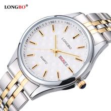LONGBO Casual Stainless Steel Couple Quartz Watches Reloj Masculino Lovers Wristwatch with Date Calendar Waterproof 80085