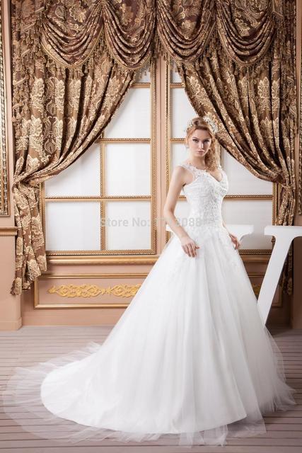 wedding dresses 2015 economici online.V neck Off the Shoulder white  wedding dress in lace