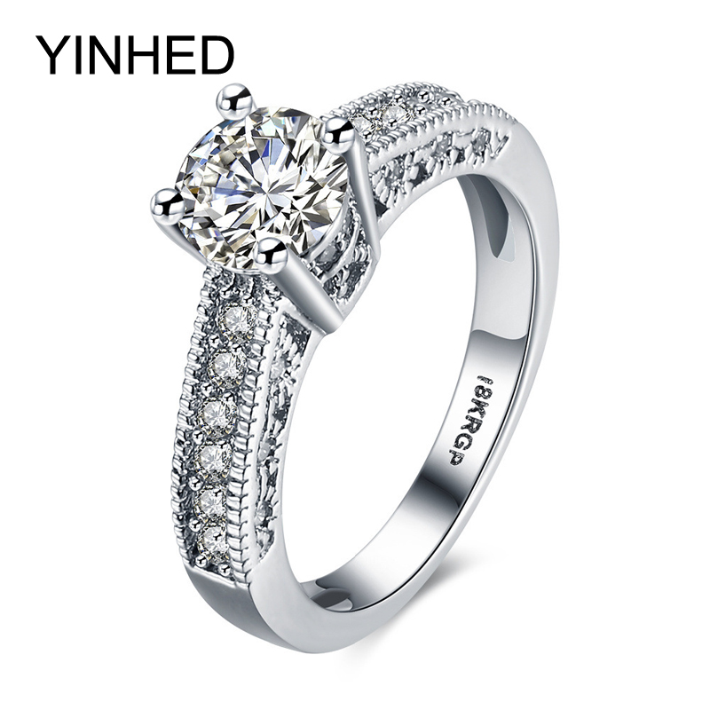 YINHED White Gold Filled Ring With 18KRGP Stamp 7mm Cubic Zirconia CZ Dimaond Engagement Wedding Rings for Women Jewelry ZR188(China (Mainland))