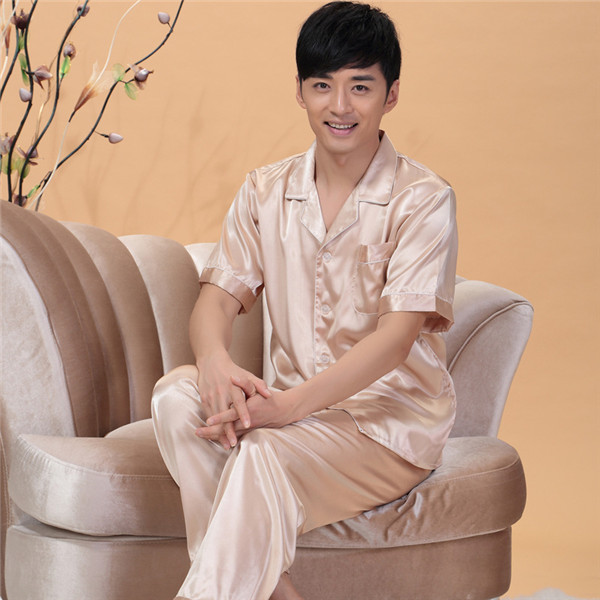 Fashion Noble Nightgown Men's long-sleeved Silk Pajama Set Casual Tracksuit Suit Sleepcoat Nighty Bedgown D10(China (Mainland))