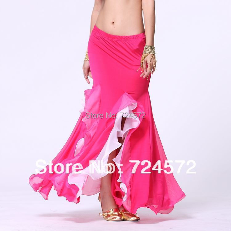 Belly dance costume milk silk colors Crimping belly dance skirt for women milk silk gauze skirt(China (Mainland))