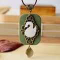 Original Handmade Natural Shell Carved Swan Necklaces Pendants For Women Zakka Style Jewelry Accessories