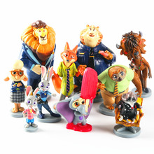 10pcs/Lot Hot Moive Zootopia Judy Hopps Nick Wilde Leodore Lionheart Flash Yax Anime Action Figures Dolls Kid Toys Zootropolis