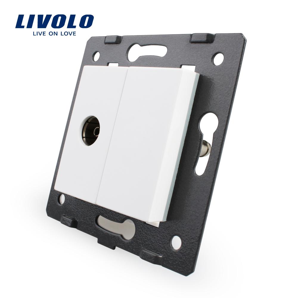 Гаджет  Free Shipping, Livolo White Plastic Materials, 45mm*22mm, EU  Standard, Function Key For TV Socket None Электротехническое оборудование и материалы