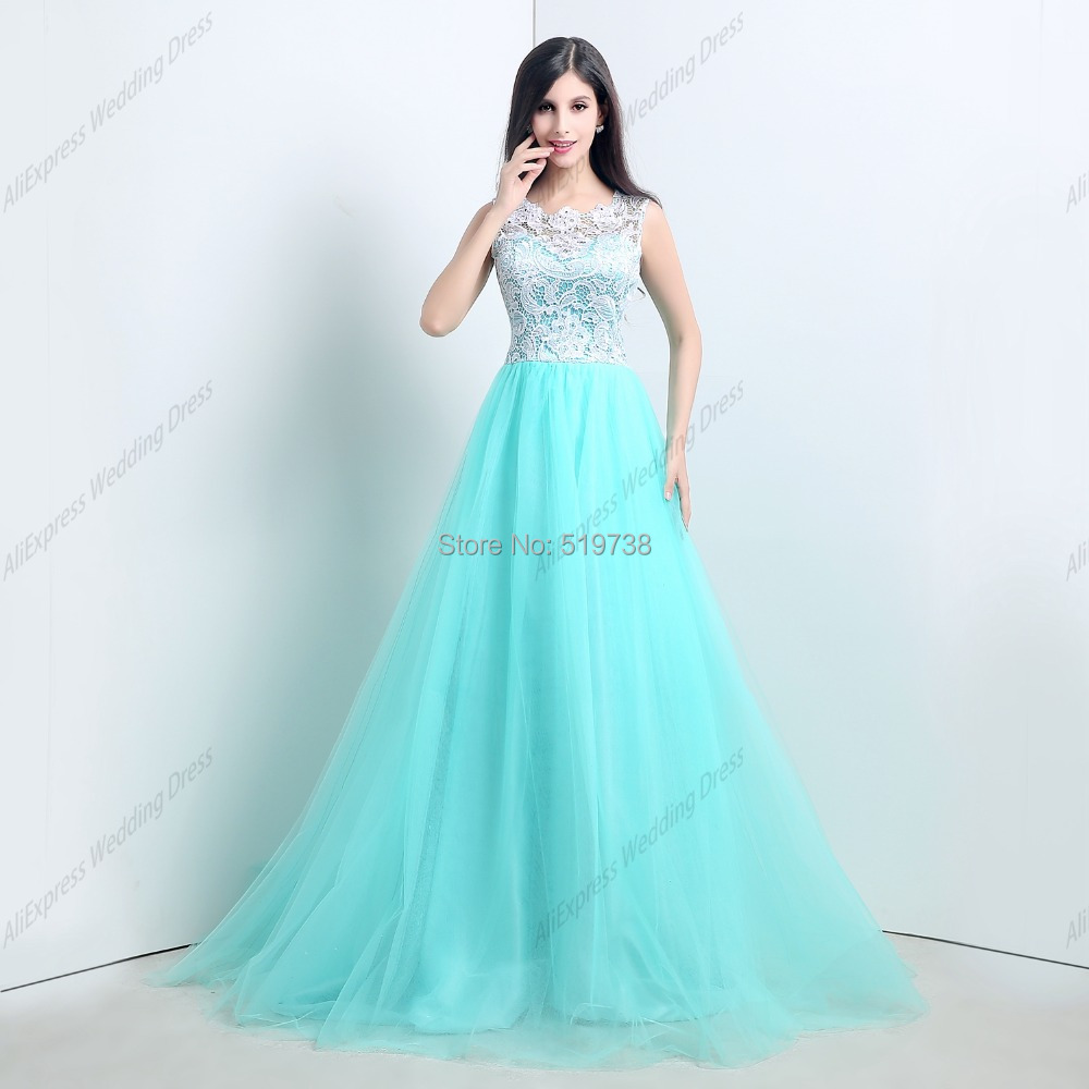 Real Photos Blue Tulle Lace Scoop-neck A-line Floor Length Special Occasion Dresses Long Prom - bridalworld store