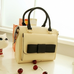 fashion preppy style vintage high quality leather small sweet bow ladies women's handbag shoulder bag totes white pink boslos