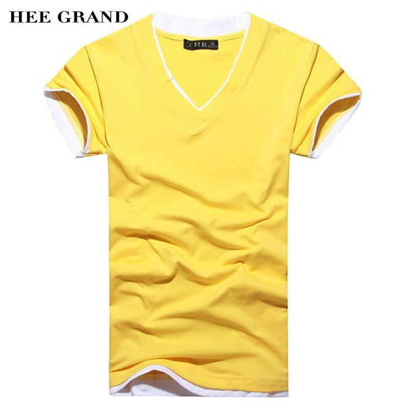 2016 fashion t shirt for men cotton t shirt v neck short for Plain colored v neck t shirts